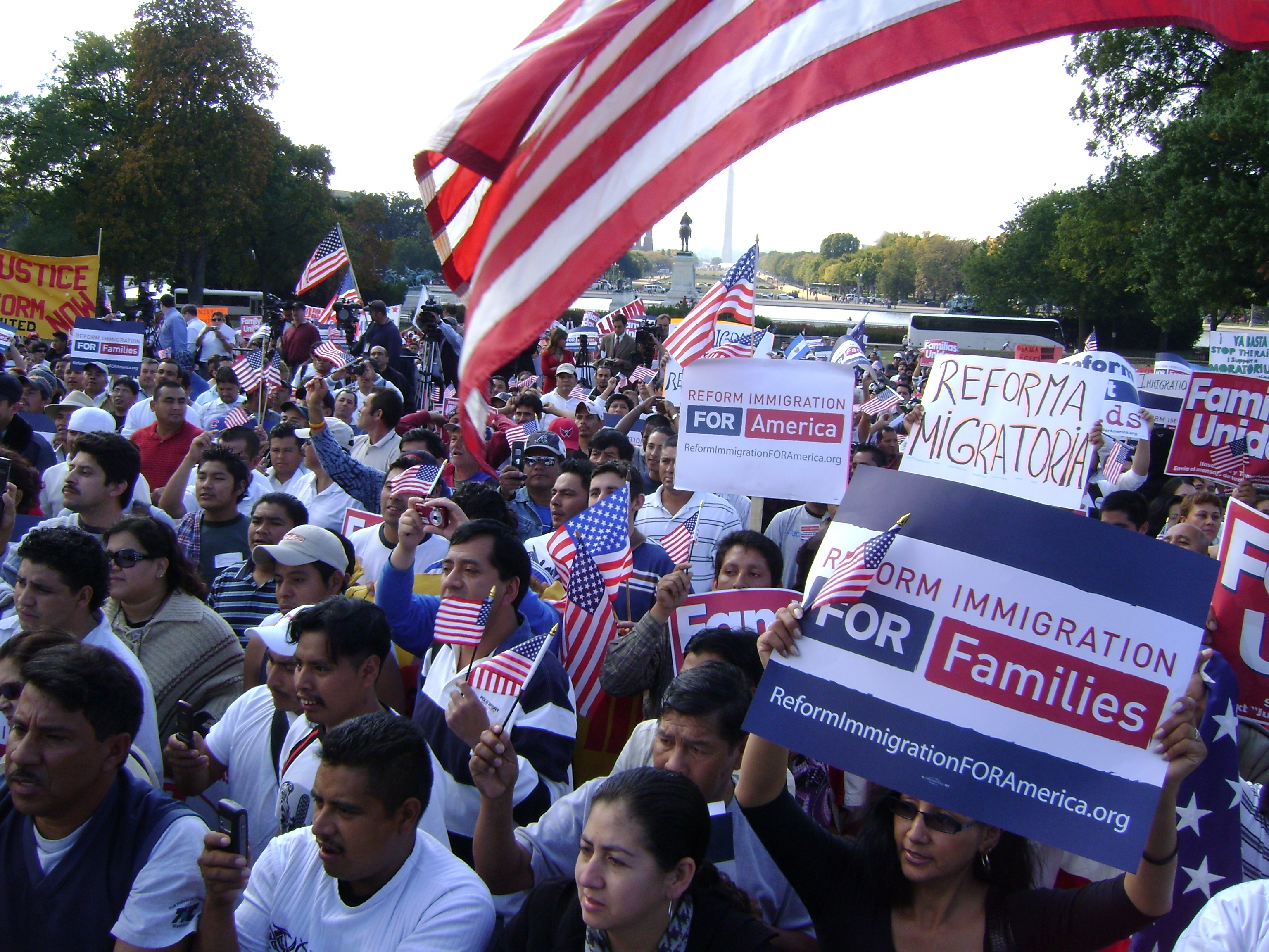 Thousands call for immigration reform on the West Lawn of the Capitol.