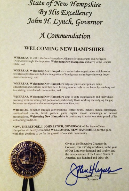 Declaration Welcoming Immigrants in New Hampshire